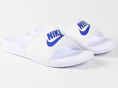Nike Benassi JDI Men's Slide 343880-102 White Varsity Royal Logo Free Shipping