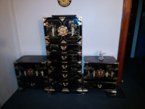 Oriental/Asian Dresser and Two Side Tables