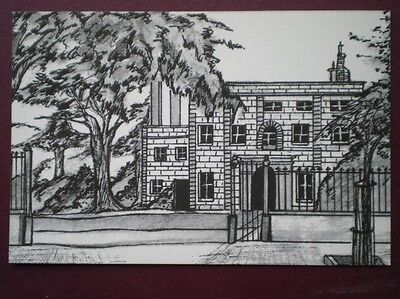 POSTCARD ALDERNEY ALDERNEY - THE ISLAND HALL PENCIL SKETCH