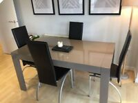 4 black leather and metal dining chairs *Chairs Only*