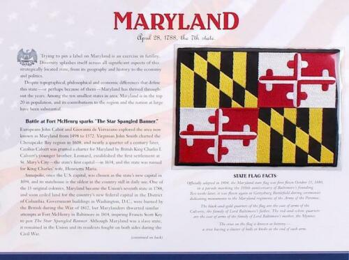 MARYLAND  Willabee Ward STATE FLAG PATCH INFO CARD United States Flag Collection
