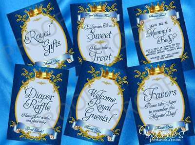 Royal Baby Boy Little Prince Party Signs/ Dessert Table / Game Signs (set of 6) ](Royal Prince Baby Shower)