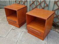 2 GPlan G Plan Bedside mid century tables cabinet pair Fresco vintage retro original teak