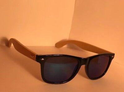 Bamboo Sunglasses Wooden Mens Women Blue Lens Retro Vintage Summer (Wooden Wayfarers)