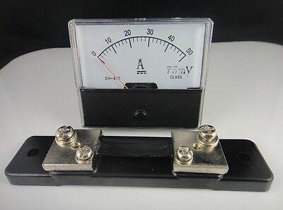 Analog Amp Panel Meter Current Ammeter Dh-670 Dc 0-50a 50a 75mv Shunt Resistor