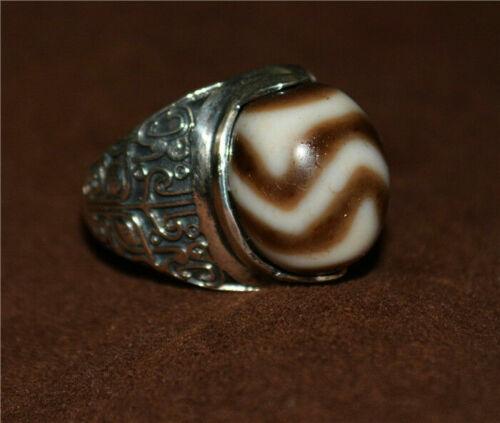 Tibetan water wave dzi bead ring amulet old tiger pure gzi tibet ancient genuine