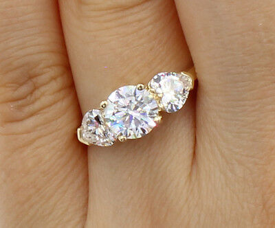 2 Ct 14K Yellow Gold Round Heart 3 Stone Wedding Engagement Propose Promise - Gold 3 Stone Heart Ring