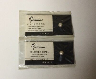 Set of 2 Olson Electronics 1950's Genuine Cultured Pearls