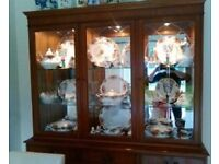 yew display unit glass and wood
