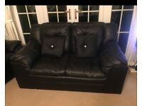 X2 Black Leather Sofas. £165 each or both for £300 Excellent condition. Smoke free home