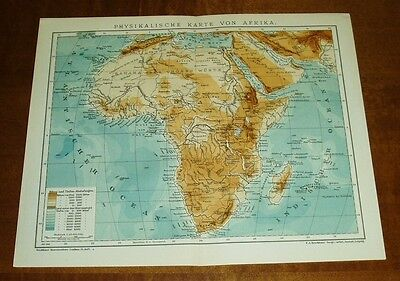 Physikalische Karte von Afrika mit Jahreszahl 1906.