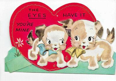 Vintage Mechanical Valentine Puppy Dog Card DIE CUT 1940