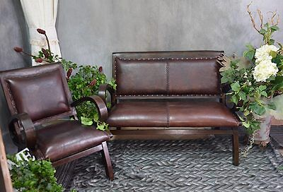COLONIAL SOFA SEAT SEATER LOUNGE NATURAL LEATHER TEAKWOOD BROWN LIVING ROOM