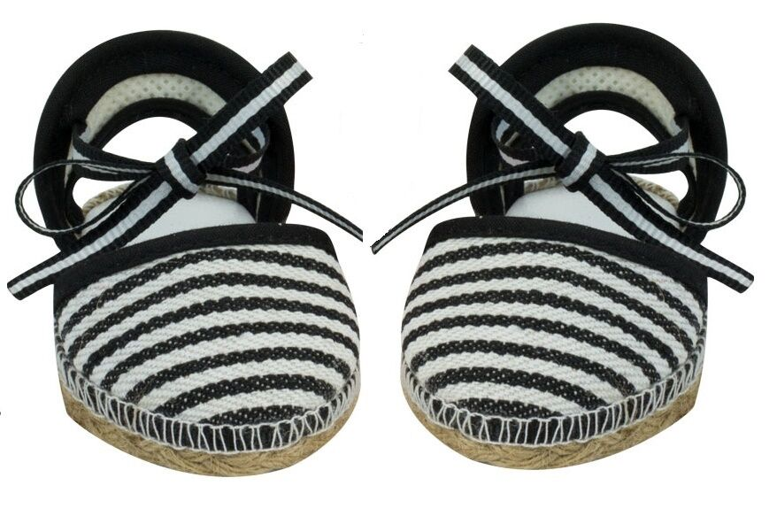 Black Espadrilles Sandals for American Girl / Baby 15 18 inch Doll Shoes Clothes