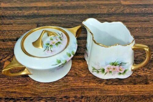 Vintage Creamer Sugar Bowl Hand Painted Porcelain Pink Roses Artist Signed 1949