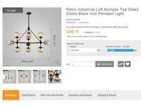 Chandelier Retro IndustrialTea Glass Globe Black Iron £200 BRAND NEW ORIGINAL PCKG