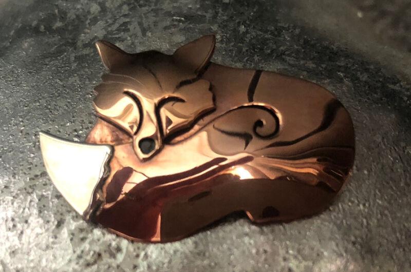 Far Fetched Sterling Silver & Brass Sleeping Fox Brooch