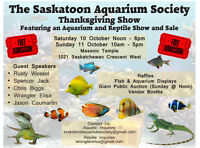 Saskatoon Aquarium Society Fish & Reptile Show and Sale