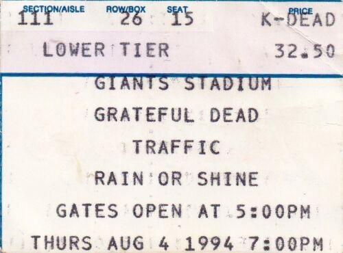 GRATEFUL DEAD TICKET STUB   08-04-1994  GIANTS STADIUM WITH TRAFFIC