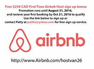 $250 CAD bonus as first time Airbnb host promo ends Aug 31