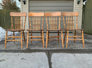 "SET OF 4 MAPLE CHAIRS ""PERFECT FOR THE COTTAGE"""