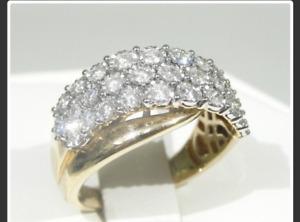 10K Yellow & White Gold Diamond Cluster Ring
