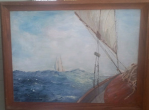 Original Vintage Oil Painting - Nautical