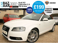Audi A3 Cabriolet 2.0TDI ( 140ps ) S Line+1 OWNER+JUNE 2018 MOT+