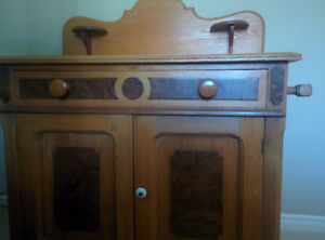 Antique oak & walnut camel back washstand