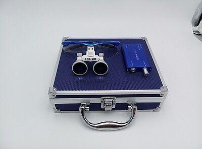 Dental Surgical 3.5x420mm Binocular Loupes1w Led Head Light Aluminum Box Blue