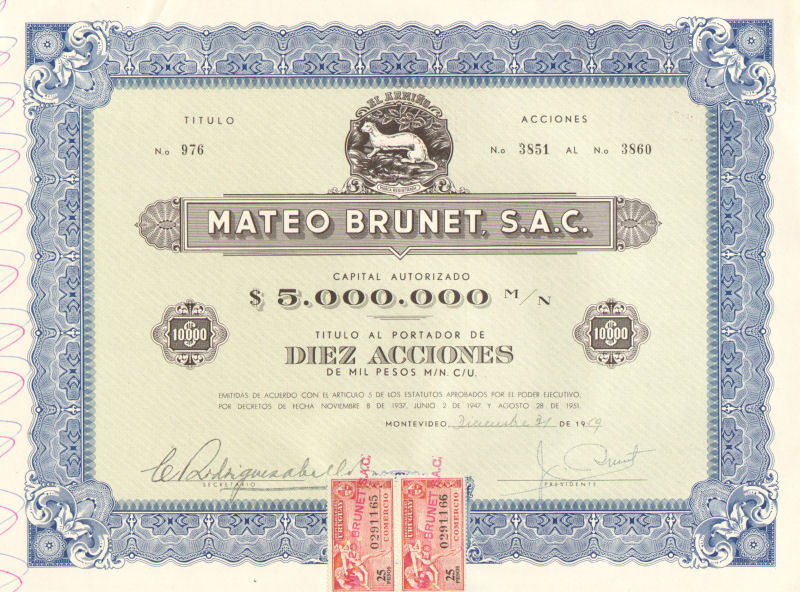 Mateo Brunet > 1959 Uruguay 10,000 pesos old bond certificate