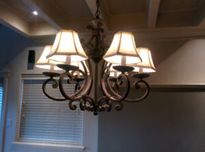 Wrought Iron Shaded dining room fixture