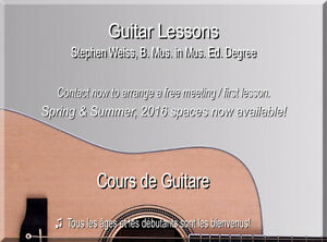 Guitar Lessons, West Island - Beginners to Advanced Levels!