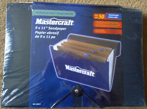 "NEW 'Mastercraft' 9"" X 11"" Assorted Sandpaper – 50 pcs w/ Folder"