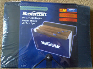 "NEW 'Mastercraft' 9"" X 11"" Assorted Sandpaper – 50 pcs w/ Folder Kingston Kingston Area image 1"