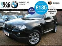 BMW X3 2.0d SE+F/S/H+6 MONTH WARRANTY+LOW MILEAGE+MAY 17 MOT+SIDE RUNNING BOARDS