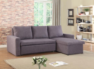 FABRIC PULLOUT SOFA BED WITH A CHAISE AND STORAGE
