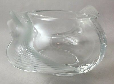 Signed Lalique Crystal Adelaide Dove Bird Bowl Frosted Swept French Deco