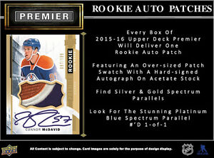 2015-16 Upper Deck Premier Hockey Hobby Trading Cards Box Kitchener / Waterloo Kitchener Area image 4