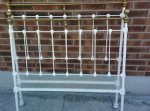 "Antique Wrought Iron & Brass 48"" Bed Frame, Rails, and 3/4"" Base"