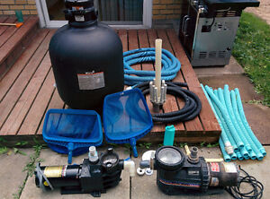 Used pool pumps, filter and various accessories for sale