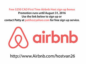 Free $250 CAD cash bonus for First time Airbnb Host