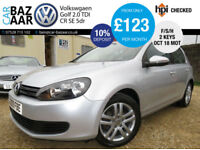 Volkswagen Golf 2.0TDI CR ( 140ps ) SE+F/S/H+2 OWNERS+OCT 18 MOT+2KEYS