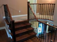 Solid oak stair treads and full railings