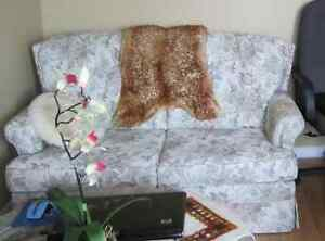 Mint Condition White with Flower fabric pull out couch. Windsor Region Ontario image 1