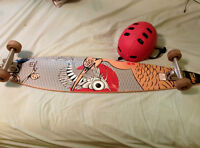 Arbor longboard with helmet and extra wheels, in good condition