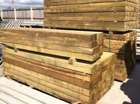 Green wooden sleepers treated