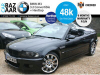 BMW M3 3.2 Convertible+HARDTOP+LOW MILEAGE+6 MONTH WARRANTY+SAT NAV+2 KEYS