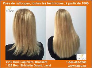 Pose et Rallonges de cheveux REMY illimitées à partir de 180$ !