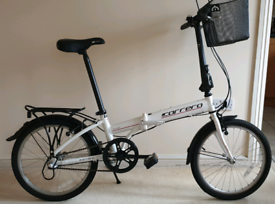 "Carrera Transit folding bike, 20""wheels, 3gears, shopping basket"